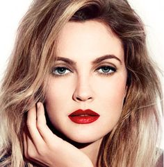 Drew Barrymore in a CoverGirl ad, wearing CoverGirl Lip Perfection Lipstick in Hot and Lip Perfection Lipliner in Passion Wedding Hair And Makeup, Hair Makeup, Bride Makeup, Eyeliner, Mascara, Eye Brows, Celebrity Makeup, Celebrity Style, Red Lips
