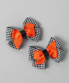 Take a look at this Black Plaid & Orange Stacked Bow Clip Set by Festive Fifi on #zulily today!