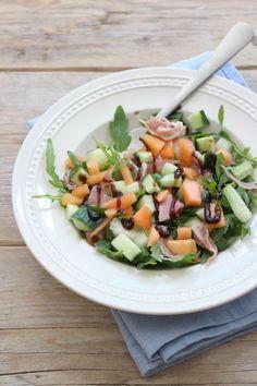 Parmaham-meloen salade