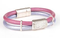 Orchid Elegance Round Leather Bracelet