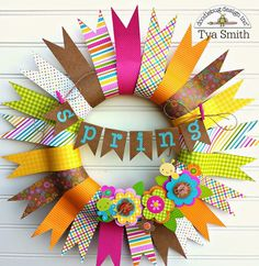Doodlebug Design Inc Blog: Inspired by Challenge: Spring Banner Pennant Wreath by Tya Smith