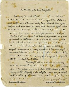 "Sir Arthur Conan Doyle (1859-1930), First page of Conan Doyle manuscript for ""The Greek Interpreter"", South Norwood, London, c.1893. Photo: Bonhams."