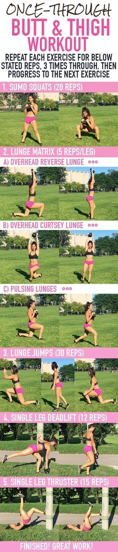 Once Through Butt & Thigh Workout! This workout which includes single leg deadlifts, lunge pulses, sumo squats and more will get your muscles burning! The meaty part of your bum will be feeling this for days!