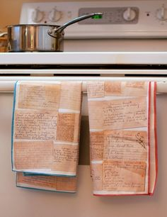 Handwritten recipes turned into tea towels