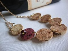 Recycled wine cork necklace.