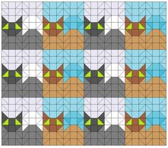 Easy Triangle Quilting Patterns - cat quilt blocks