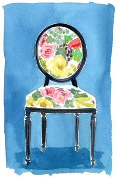 "I love that Lonny Blog has ""watercolor wednesdays.""  And you know how I feel about chair pictures :)"