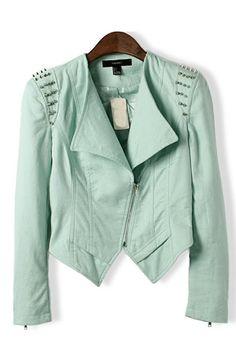 Love this color! Mint Green Rivet Shoulder Moto Jacket #mint_green #moto_jacket