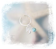 To The Moon & Stars-Larimar-Dangle Charm .925 Sterling Silver Adjustable Toe Ring-Size 3 to 4.5