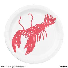 Red Lobster Paper Plate  Available on many more products! Use the search bar on my Zazzle products page, type in the name of the design to see all products.  #lobster #red #illustration #gear #life #lifestyle #cool #chic #zazzle #buy #sale #ocean #nature #planet #earth #creature #sea #crawl #claw #fish #swim #swimming #water #paper #plate #disposable #event #catering #party #planning