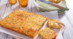 For a yummy snack on the go, make this Pumpkin Vegetable Slice ahead of time.  #savoury #snack #recipe