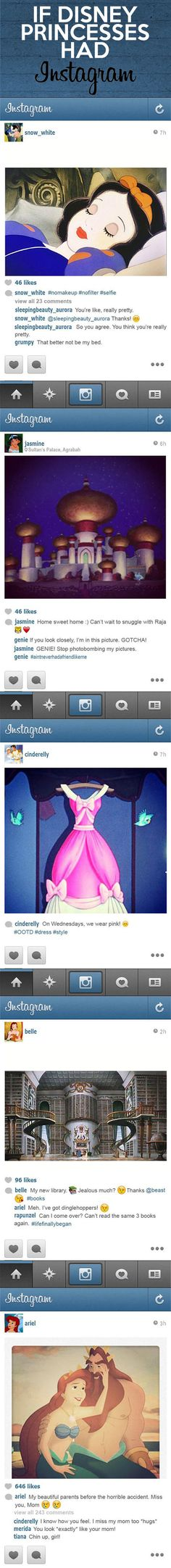 If Disney Princesses had Instagram. Hahaha!!!