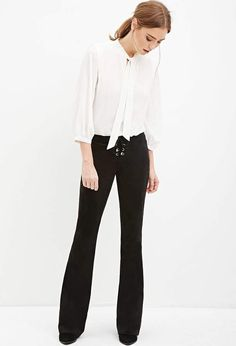 Click the link to get the look! Forever 21 Lace-Up Flared Pants. This simple yet sophisticated outfit is perfect for the office or a nice work look. #fashion #style #ad