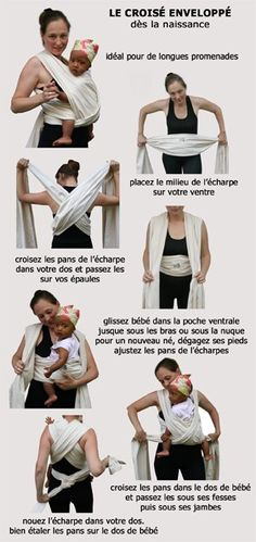 """Une écharpe de portage comme cadeau de naissance? Retrouvez le tuto du """"croisé enveloppé"""". http://camilleandco.be/DVD-Technique-de-nouage-echarpes-porte-bebe-dvd-et-livret_535_112_224.html"""