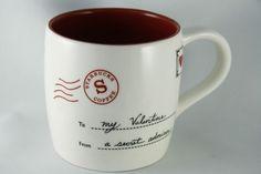 2010 Starbucks Coffee Mug Cup Valentine Secret Admirer 12oz Hearts Letter Sealed SOLD