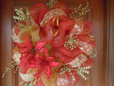 Red & Gold Christmas Deco Mesh Wreath. $80.00, via Etsy.