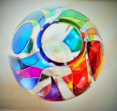 Vaso arcobaleno - pittura di vetro