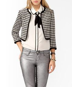 I'm in love with this!  Cropped Houndstooth Jacket | FOREVER21 - 2019572671