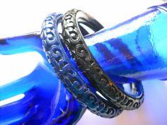 www.etsy.com/shop/FindCharlotte Excited to share the latest addition to my #etsy shop: KJL Asian Bracelet Set Kenneth J Lane Designer Signed Molded Lucite Black Blue Vintage Statement Bracelet Set Art Deco Style https://etsy.me/2uMFQlD #jewelry #blue #birthday #lovefri