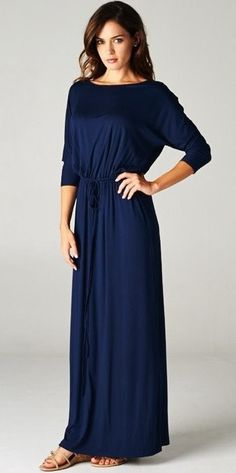 Modest Boyfriend Maxi Dress in navy with 3/4 length sleeves | Mode-sty