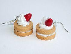 Strawberry Shortcake Clay Earrings by Ashito on Etsy, $8.00