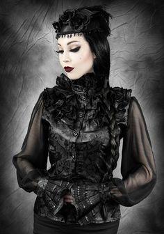 Restyle // Restyle Dark Princess Jacquard Black Shirt $30