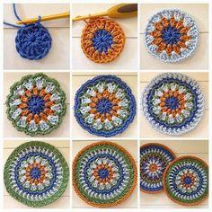 Free Crochet Patterns And Knitting Patterns - diy knitting Crochet Mandala Pattern, Crochet Circles, Freeform Crochet, Diy Crochet, Crochet Stitches, Crochet Granny, Crochet Mandela, Knitting Patterns, Crochet Patterns