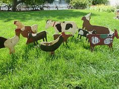 9 Primitive Folk Art Wood Yard Art Animals Plywood Horse Rooster Rabbit Cow -- Antique Price Guide Details Page