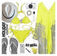 """holiday wishlist"" by sanddollardubai ❤ liked on Polyvore featuring Roberto Cavalli, Havaianas, ViX, NARS Cosmetics and Cat Hammill"