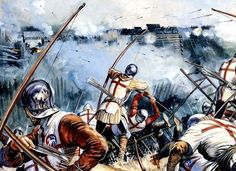 English archers in a siege 100 Years War towards the end of it, 1450, since there are gun powder weapons