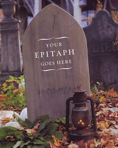 Applying Final Aging Techniques and Erecting the Tombstone - Tombstone Yard Halloween Decorations - Step 8 - MarthaStewart.com