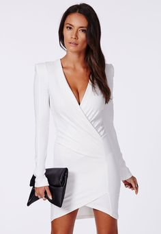 Amaline Cross Over Tailored Dress - Dresses - Missguided