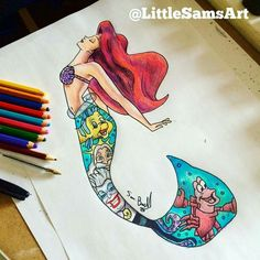 The little mermaid. desenhos com aguarelas disney tattoos, disney drawings, Little Mermaid Drawings, Little Mermaid Tattoos, Cute Disney Drawings, Cute Drawings, The Little Mermaid, Drawing Disney, Mermaid Tail Tattoo, Disney Sketches, Disney Kunst