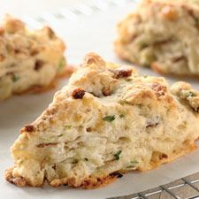 We usually think of scones as sweet, not savory. But these rich, tender scones are packed with chunks of Cheddar cheese and diced bacon, and accented with fresh chives. Serve them with soup or a salad for a satisfying meal