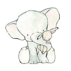 So cute I want to cry... I wish I had kids so I could buy this! Elephant Hug  8X10 Nursery Art Print  bunny and elephant $20.00: