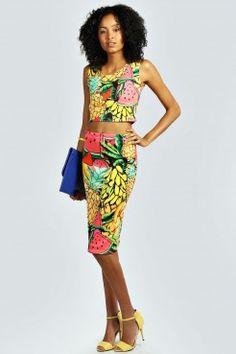 Maggie Fruit Print Crop Top & Midi Skirt Co-Ord - Faldas - Ropa