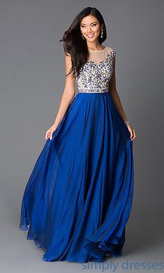 Dresses, Formal, Prom Dresses, Evening Wear: Floor Length Prom Dress with Illusion Neckline G607