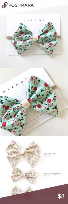 """Hair sailor bow with nylon headband Hair sailor bow with nylon headband in one size fits most from newborn baby to teenager. Bow size is 4.5"""" wide nitnot Accessories Hair Accessories"""