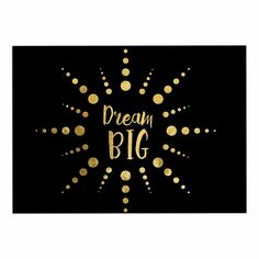 KESS InHouse NL Designs 'Dream Big' Black Gold Dog Place Mat, 13' x 18' -- Check out this great image  (This is an amazon affiliate link. I may earn commission from it)