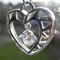 (0015) SILVER Heart Pendant, free hanging Clear Crystal  FREE P&P with PAYPAL  www.nettysnicknacks.co.uk