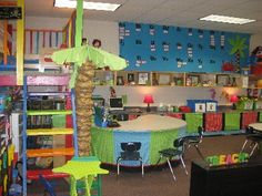 Colorful classroom, great ideas.  Would love to paint the loft like this one.