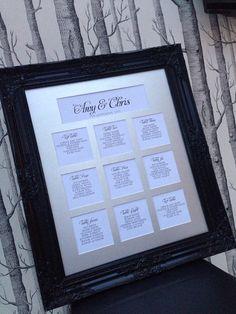 Beautiful Framed Wedding Seating Plan on Etsy, £95.00