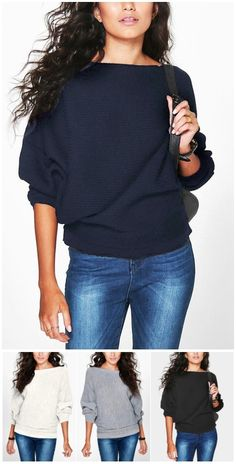 Navy Long Sleeves Loose Jumper US$19.95