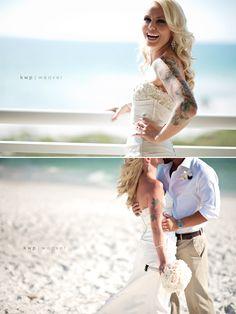 Glamourous tattooed bride kisses groom on the beach - My wedding ideas - Yacht wedding Wedding Tags, Wedding Bells, Wedding Bride, Fall Wedding, Dream Wedding, Wedding Ideas, Punk Wedding, Wedding Wishes, Wedding Colors