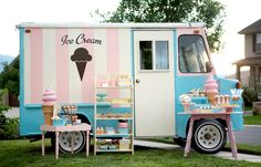Ice Cream #shop #food #truck #pink #party #blue #white #stripes