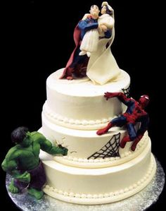 superhero Wacky and Crazy #Wedding Cakes. I'm speechless on some of these! #ww http://www.surfandsunshine.com/crazy-wedding-cakes/