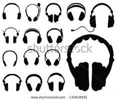 Black Silhouettes Of Headphones-Vector - 131848991 : Shutterstock
