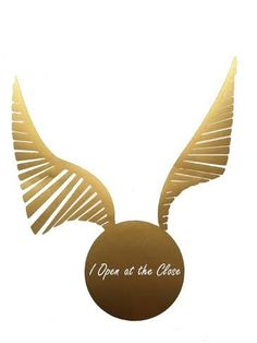 """Harry Potter """"I Open at the Close"""" Snitch Vinyl Decal (Gold & White) - Quidditch, Birthday Party Decor, Car Decal, Vinyl, Computer Sticker"""