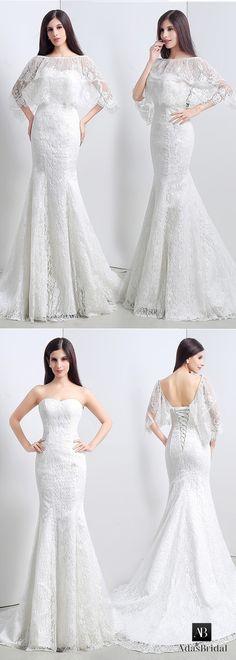 In stock glamorous lace sweetheart neckline mermaid wedding dresses with jacket. Ready to ship now! (WWD95389) - Adasbridal.com