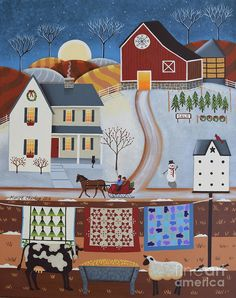 Seasons Of Rural Life - Winter Print by Mary Charles.  Check out the special pricing for Christmas cards.
